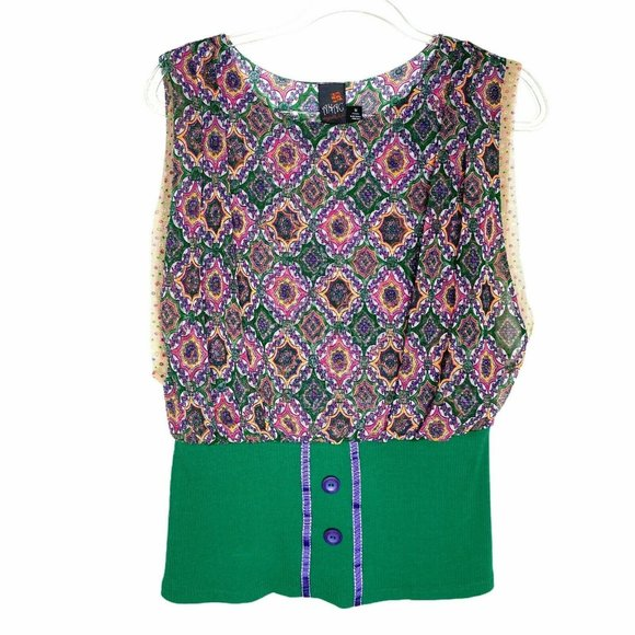Anac by Kimi Art-to-Wear Green Layered Floral Top